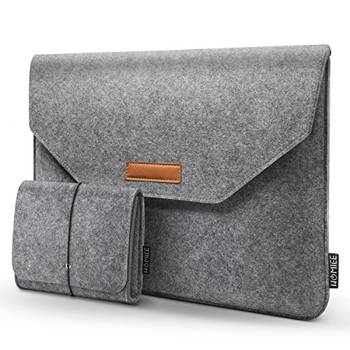 HOMIEE MacBook Pro 13 Inch Sleeve Felt Laptop Protective Case for 2016-2018 MacBook Pro, 2017-2018 MacBook Air, 12.9' iPad Pro, Dell XPS 13, Lenovo/HP/Chromebook Ultra Slim Notebook, Light Gray