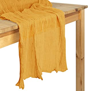 Koyal Wholesale Gauze Table Runner Extra Long Table Runner, Farmhouse Table Runner, Cheesecloth Tablecloth (Marigold Yello...