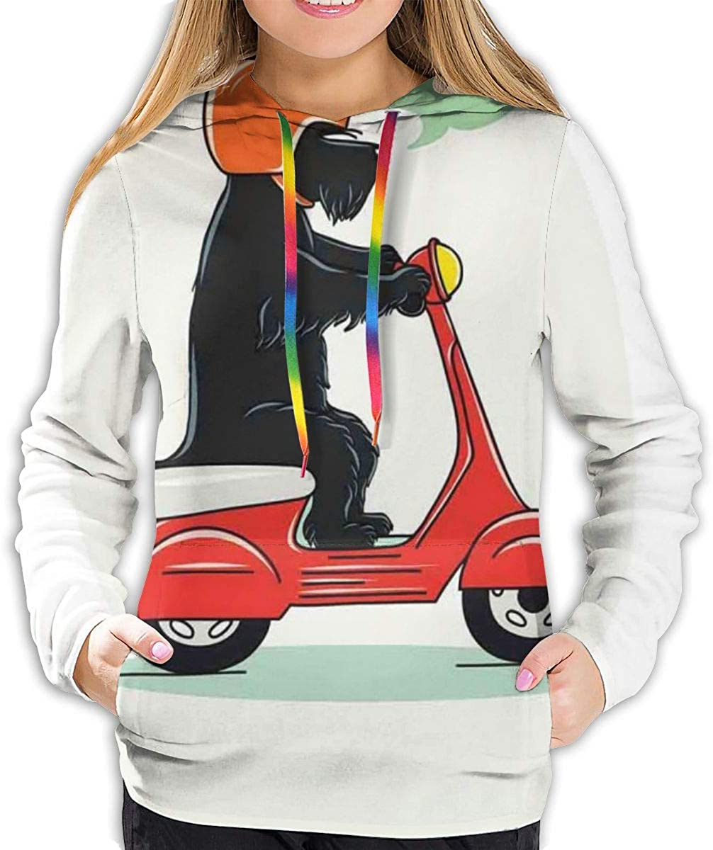Women's Hoodies Tops,Illustration of A Puppy Riding Scooter with Woof Woof Text Balloon Comic Design,Lady Fashion Casual Sweatshirt