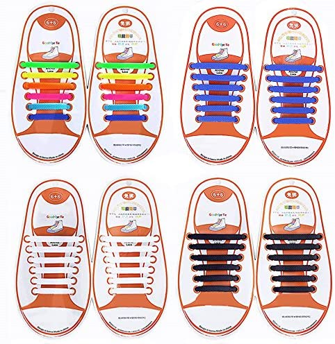 Talent Fashion Kids Adults Tieless Elastic Silicone No Tie Shoelaces Waterproof Rubber Flat product image