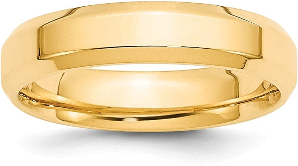 Solid 14k Yellow Gold 5mm Bevel Edge Comfort Fit Wedding Band Ring