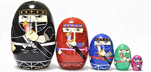 lowest FinerMe Fine Work Russian Nesting Dolls Matryoshka Wood Stacking Nested Set 5 popular outlet sale Pieces Handmade Toys for Children Kids Christmas Birthday Home Decoration (Color F..) sale