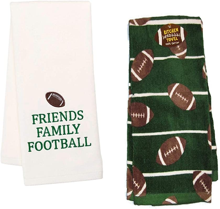 Loving Home Game Day Friends Family And Football Kitchen Towel Set Of 2 Cotton Tea Towels Perfect For Dish And Hand Drying