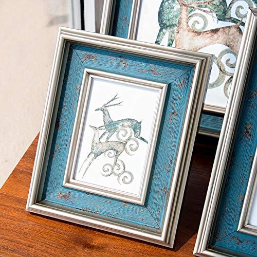 QKEMM Bilderrahmen Fotorahmen Wechselrahmen Souvenir Bilderrahmen-Harz-Set Tisch+Aufhängen An Der Wand 10,2×15,2cm 1 Silberpackung