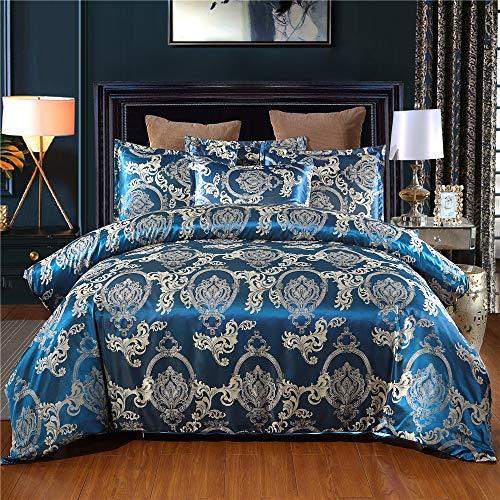 Jacquard Bedding Set Floral Satin Bedding Jacquard Duvet Cover Set with Silky Pillowshams(King, Blue)