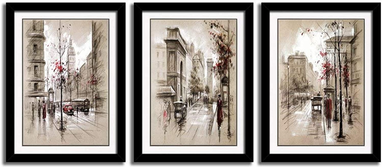 3 Panels Black Frames Giclee White Mat Artworks Black White and gold Wall Art Canvas Prints Decor Framed Flowers Painting Poster Printed On Canvas Poppy Pictures for Home Decorations (C, L)