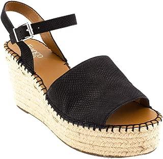 Women's Takara Platform Wedge Sandal, Black Leather, 7.5 M