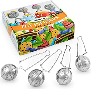 Tea Infuser, Steeper, Strainer, TBall - Long Handle Reusable Stainless Steel Snap Mesh Filters, Holder for Loose Tea, Bags, Tongs, Green Tea Maker Hot, Interval Diffuser, Tea Set Accessories by Hohich
