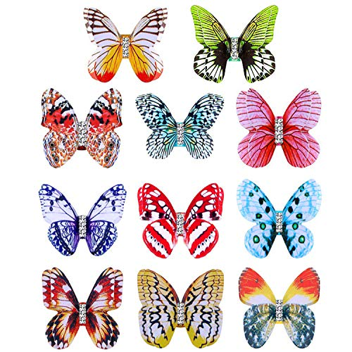 Ryalan 11Pcs Butterfly Dreadlocks Beads Metal Cuffs Hair Jewelry Rings Hair Decoration Accessories, Aluminum Coil Hair Wraps for Dread locks Faux Locs Crochet Braids Spring Passion Twist Hair