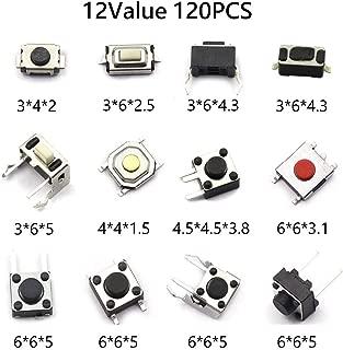 DaFuRui 120pcs 12 Values Tactile Push Button Switch Micro Momentary Tact Assortment Kit