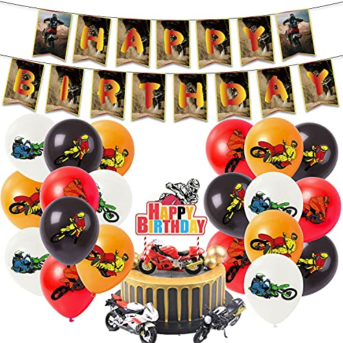 Dirt bike party decorations, dirt bike birthday party supplies for kids set with a happy birthday banner, motocross cake topper, dirt bike balloon for motorcycle birthday party supplies