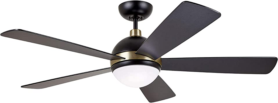 Amazon Com Kathy Ireland Home Astor Ceiling Fan With Remote Control 52 Inch Modern Fixture With Integrated Led Light And Shatter Resistant Shade Downrod Mount For Living Room Bedroom Office Black Gold