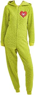 The Grinch Womens Union Suit Pajamas Fuzzy Plush Warm Holiday Pajamas Pjs (Large Full Red Heart) Green