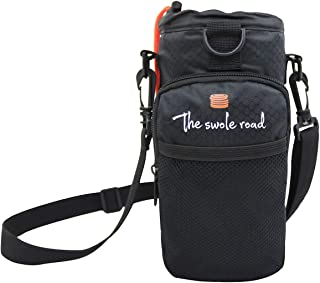 Water Bottle Holder   Aluminum Insulated Bag   Up to 40oz   Adjustable Shoulder/Waist Strap   Zippered Pocket   Gym Bag Alternative   Workout, Fitness, Gym, Hiking, and Outdoors - by The Swole Road