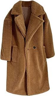 QIQIU Womens Warm Loose Lapel Plush Buttons Medium Long Windbreaker Lamb Coat Fashion Autumn and Winter Outwear