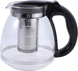 YARNOW 1500ml Tea Glass Teapot with Removable Infuser Stove Top Microwave Dishwasher Safe Perfect for Blooming Loose Lea (...