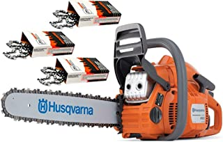 "Husqvarna 450e-Series II (50cc) Cutting Kit Includes Chainsaw, 18"" Bar/Chain Plus 3 WoodlandPRO Chain Loops"