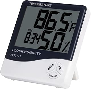 MEGICOT Digital Indoor Temperature and Humidity Meter with Alarm Clock, LCD Hygrometer Thermometer Monitor for Home Office...