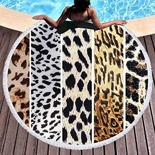 AMZJIEFU Verano Redondo Animal Piel Raya geométrica Yoga Estera Toalla de Playa patrón Leopardo sofá Conjunto Tapiz de Pared con Borla Strandtuch