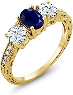 2.64 Ct Oval Blue Sapphire 18K Yellow Gold Plated Silver 3-Stone Engagement Ladies Ring (Available 5,6,7,8,9)