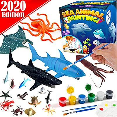 FunzBo Kids Crafts and Arts Set Painting Kit - Ocean Sea Animal Toys Art and Craft Supplies Party Favors for Boys Girls Age 4 5 6 7 Years Old Kid Creativity DIY Gift Easter Paint Your Own Creatures