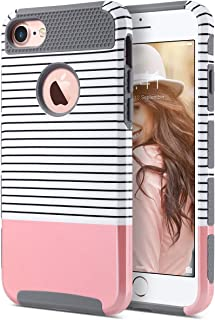 ULAK iPhone 7 Case, Colorful Series Slim Fit Hybrid Dual Layer Scratch Resistant Hard Back Cover Shock Absorbent TPU Bumper Case for Apple iPhone 7 4.7 inch- Rose Gold Stripes/Grey