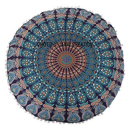 32' Mandala Barmeri Large Round Floor Pillow Cover Cushion Meditation Seating Ottoman...