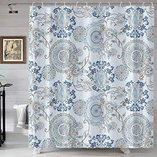 Neasow Duschvorhang, aquamarin & weiß, Wasserfarben-Blumenmuster, Badezimmer-Vorhang, hellblau, Paisleymuster, Duschvorhang, 183 x 183 cm