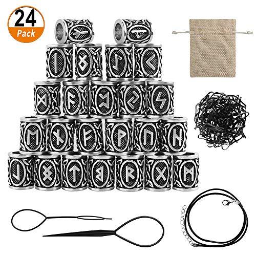 24 pezzi di perle di rune vichinghe, 300 pezzi di elastico monouso nero e 2 pezzi di strumenti per capelli in plastica con ago e 1 braccialetto per realizzare braccialetti fai-da-te