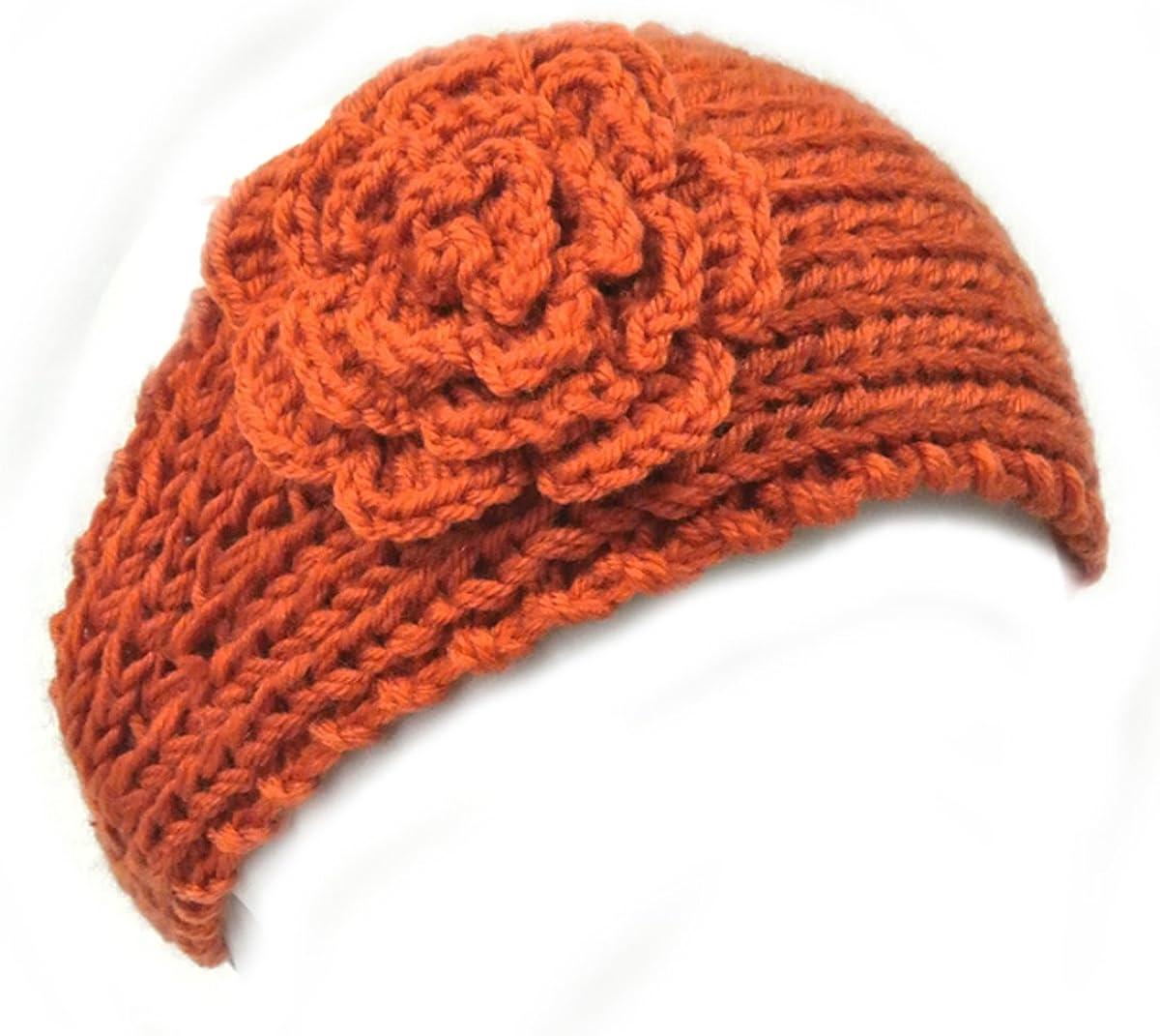 Wrapables Winter Hand Knit Floral Headband, Orange