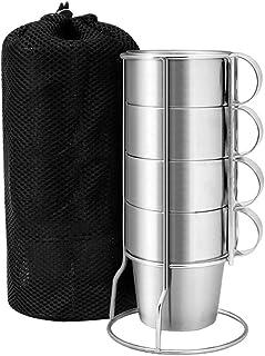 iplusmile スタッキング スタッキングマグカップ アウトドア コップ コーヒーカップ ステンレスマグカップ コンパクト 断熱 キャンプ用 アウトドア 旅行 4点セット