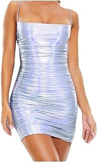 SportsX Women's Sexy Nightclub Metallic New Liquid Sling Fashion Dress Top