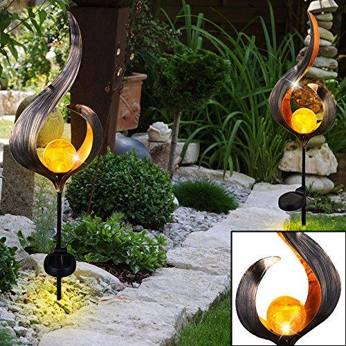2er Set LED Solar Leuchten Außen Beleuchtungen Dekoration Steck Lampen Flamme Design