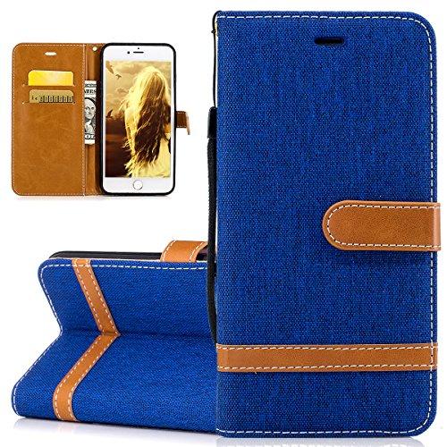 ISAKEN Flip Cover Compatibile con iPhone 7 Plus / 8 Plus, Bookstyle Contrasto Collare PU Pelle Cover Protettiva Flip Portafoglio Custodia con Supporto di Stand/Carte Slot/Chiusura, Marrone+Blu