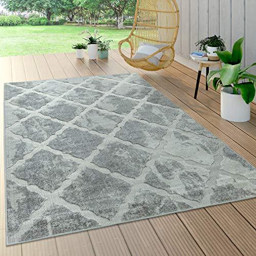 Paco Home In- & Outdoor Teppich, Terrasse u. Balkon, Modern Geometrische Muster, Grösse:160x230 cm, Farbe:Grau 2