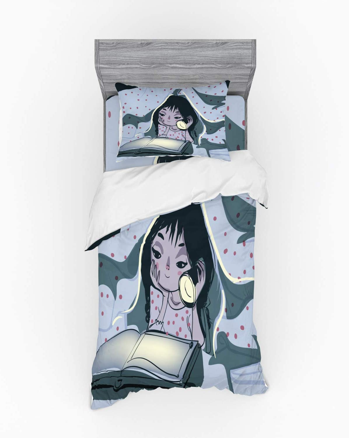 Ambesonne Cartoon Fitted Sheet Pillow Sham Set Bedding Decor in 4 Sizes