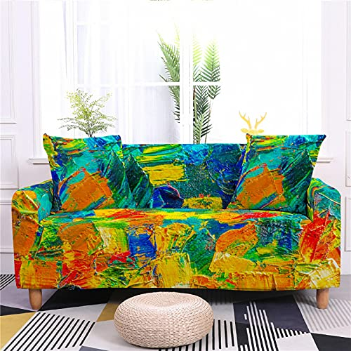 DHHY 3D Digital Printing Sofa Cover, Polyester Fiber High Elastic Sofa Cover, All-Inclusive Anti-Fouling Sofa Cover 1 2 3 4 Seater 2-seater 145-185cm