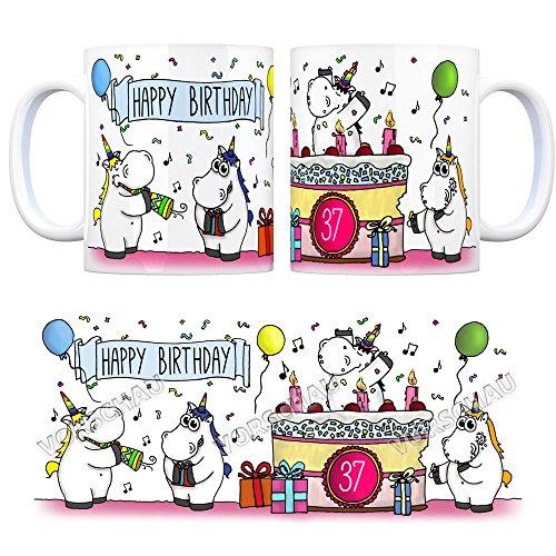 Kaffeebecher mit Einhorn Geburtstagsparty Motiv zum 37. Geburtstag Tasse Kaffeetasse Becher mug Teetasse Büro Unicorn Einhorngeschenk lustig witzig Spruch Einhorntasse kuscheln niedlich Torte Party