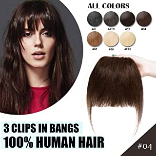 Clip in Real Human Hair Bangs Hair Extensions Bangs Hairpiece with Temples Straight Front Two Side Fringe Neat Side Bang Fashion Cute One Piece Hair Extension for Women #04 Medium Brown