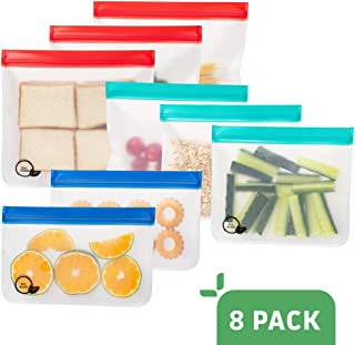 EXTRA THICK Reusable Sandwich Bags (8 pack) PEVA Reusable Ziploc Bags KIDS reusable lunch bags, TRAVEL Reusable Storage Bags WASHABLE Reusable Ziplock Bags Reusable Food Bags