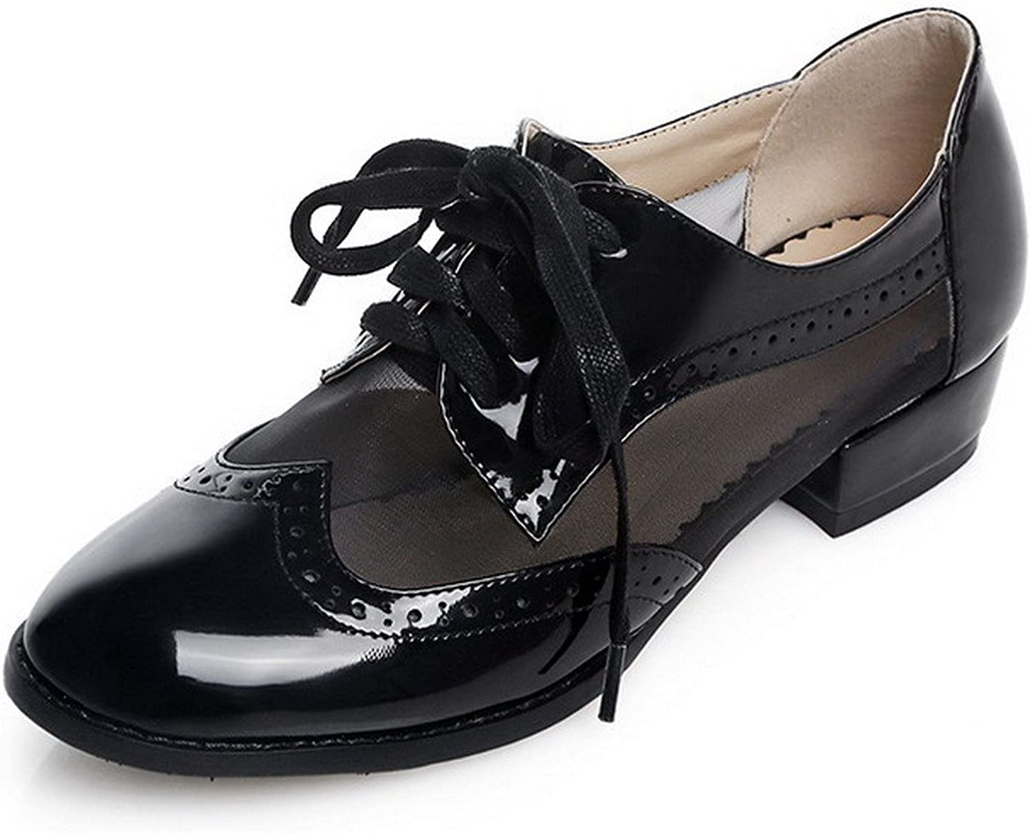 WeiPoot Women's Patent Leather Assorted color Closed-Toe Pumps-shoes with Assorted color and Hollow Out