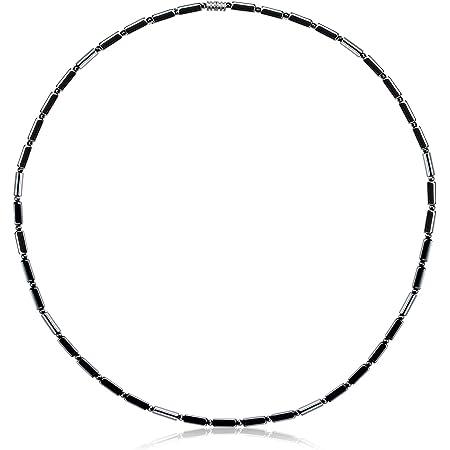 WOOSA ヘマタイト テラヘルツ 磁気 メンズ レディース ネックレス 磁気純度99.999%鑑定済み アクセサリー プレゼントギフトボックス付き ブラック(線型ネックレス)