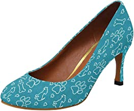 INTERESTPRINT Womens High Heels Comfort Pumps Teal and White Dog Paw Prints, Puppy
