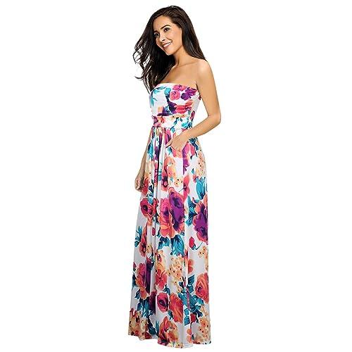 b5430cc2166 Clearlove Women s Strapless Beach Holiday Floral Maxi Dress