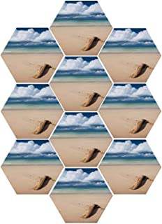 YOLIYANA Driftwood Decor Durable Hexagon Ceramic Tile Stickers,Sea Theme Driftwood on The Sandy Beach and Cloudy Sky Digital Print for Living Room Kitchen,9