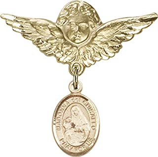 Jewels Obsession Baby Badge with St. Madonna Del Ghisallo Charm and Angel with Wings Badge Pin | 14K Gold Baby Badge with St. Madonna Del Ghisallo Charm and Angel with Wings Badge Pin - Made In USA