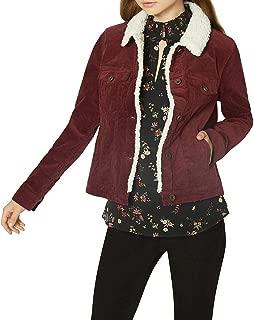 SANCTUARY Womens Burgundy Corduroy Fleece Trim Jacket US Size: L