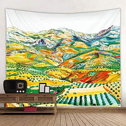 QGMZHN Tapiz Decoraci Tapestry Van Gogh Pintura Al Óleo Tapiz Mandala Bohemia Colgante De Pared Playa De Arena Picnic Throw Toalla Alfombra Manta Colchón, Chocolate, 200X150Cm