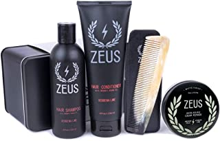 Zeus Hair Care Set for Men - Hair Shampoo, Hair Conditioner, Natural Horn Comb In Leather Sheath, pomade! (Cream Pomade)
