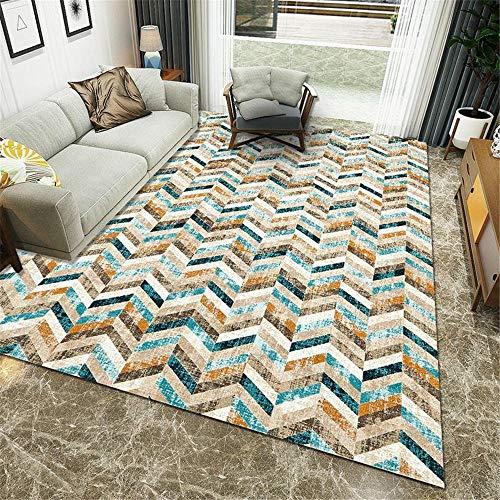 Teppiche Super Weich Gute Qualität Teppich Blauer gelbbrauner cremefarbener Abstrakter geometrischer Entwurf großer Teppich Nicht verformbar Wohnzimmer Teppiche 180 * 250cm